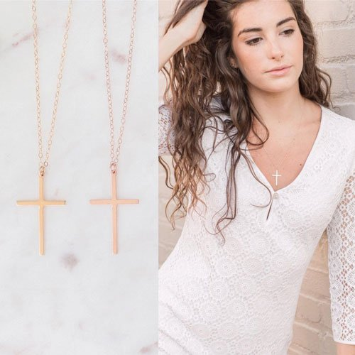 Gold Cross Confirmation Gift Necklace
