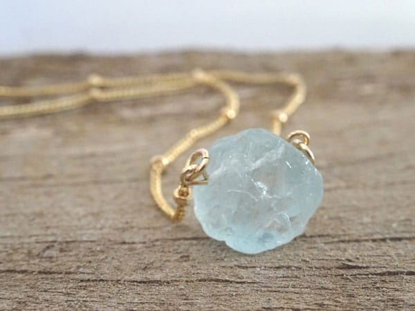 Raw Aquamarine Crystal Necklace