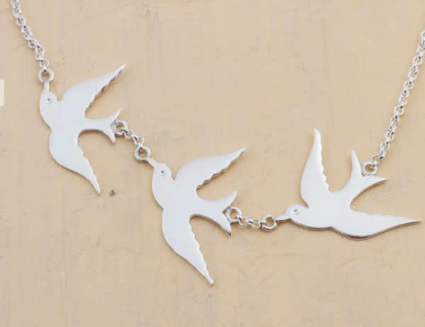 Sterling Silver Three Doves Pendant Necklace from Peru