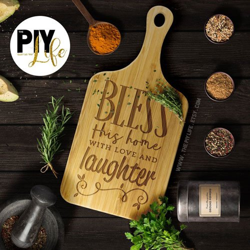 Bless this home with Love and Laughter Bamboo Wood Cutting Board