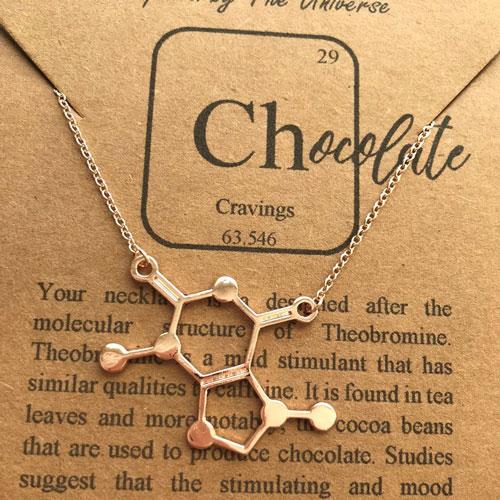 Chocolate Molecule Rose Gold Necklace