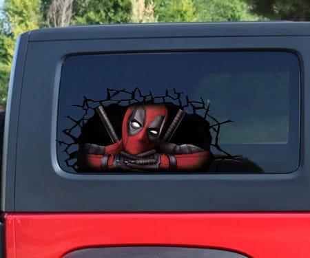 Deadpool 3D Cracked Window Decal