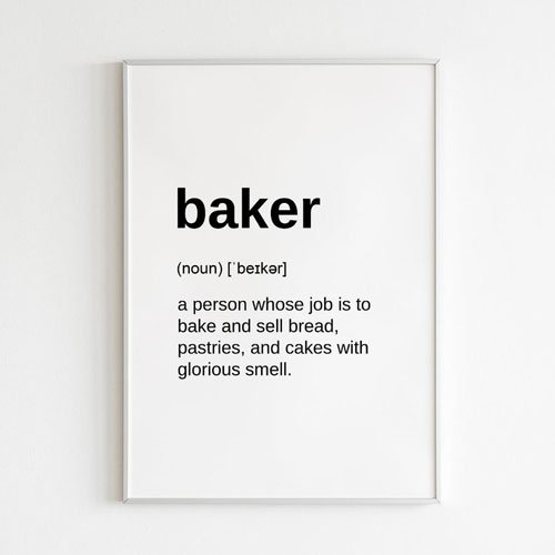 Definition Print Digital Download Gift for Baker
