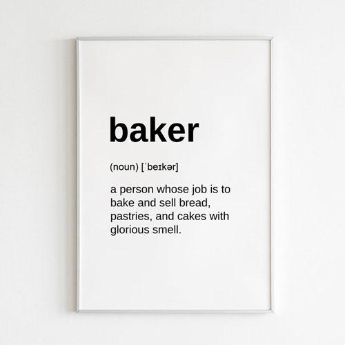 Definition Print Digital Download Gift for Baker