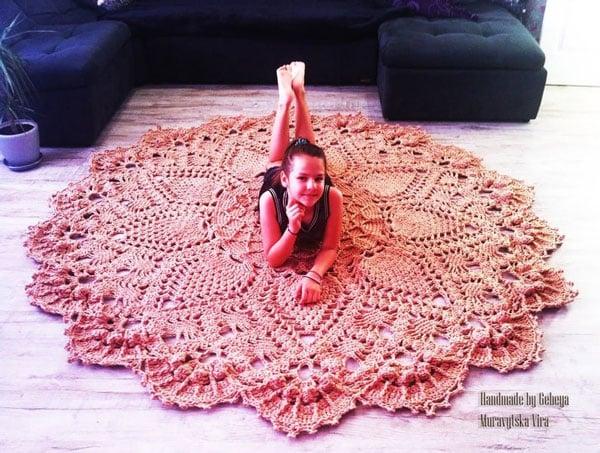 Extra Large round Crochet Rug