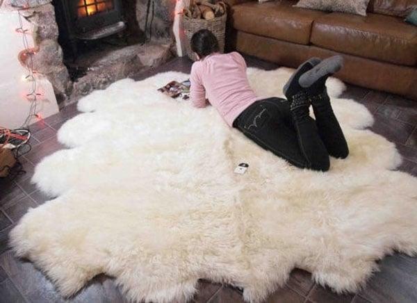 Genuine Natural Creamy White Sheepskin Rug