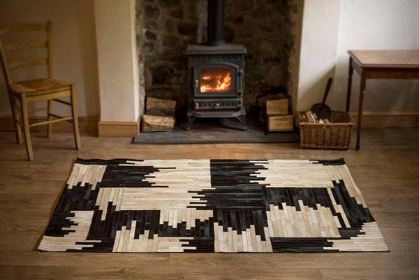 Hand Stitched Genuine Cow Hide Mosaic Rug Carpet