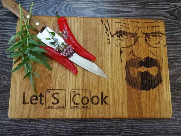 Let's Cook Handmade Lazer Engraved Breaking Bad Cutting Board