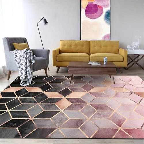 Non-Slip Rose Gold Geometric Gradient Diamond Lattice Bedroom Rug