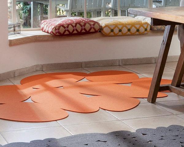 Orange Stones Scandinavian Felt Area Rug