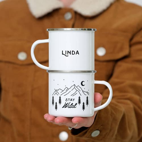 Personalised Stay Wild Camping Mugs