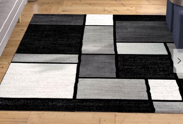 Lorenzo Machine Woven Gray/Black/White Area Rug