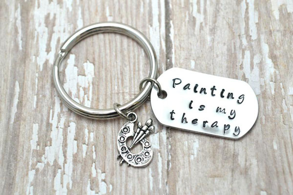 Painting is My Therapy Personalized Keyring