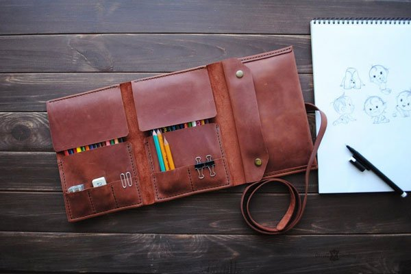 Personalized Leather Pencil Case Artist Gift - gifts for artists