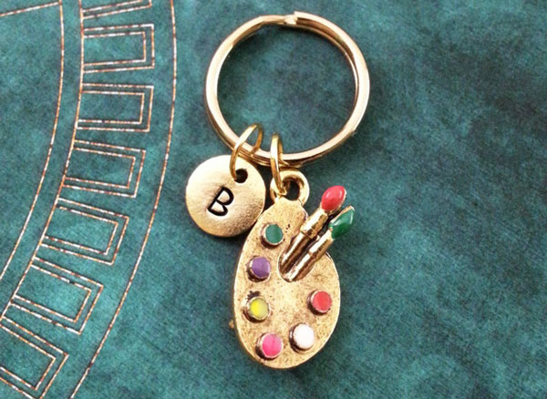 Personalized Paint Palette Keychain - gifts for artists