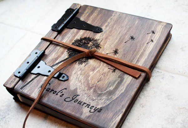 Personalized Unique Wood Portfolio Sketchbook