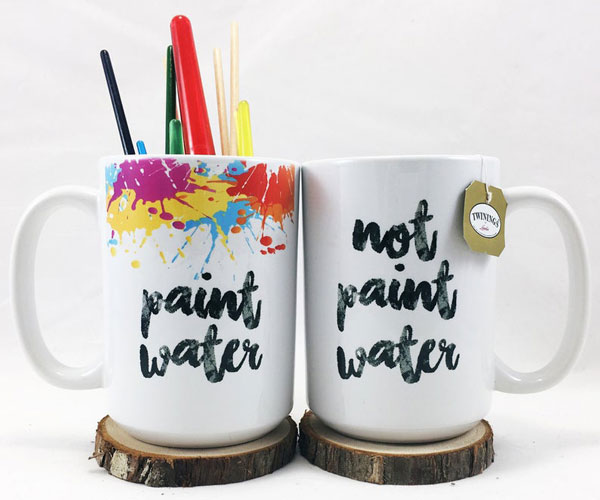 Set of Two Paint Water Coffee Mugs