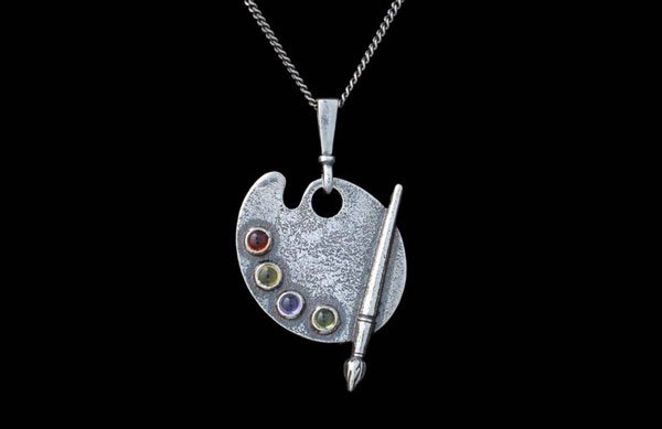 Sterling Silver Artist Palette Necklace