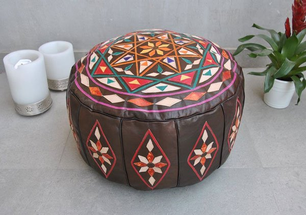 Handcrafted Leather Bohemian Pouf