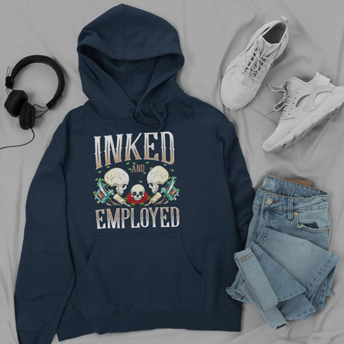 Inked & Employed Unisex Hoodie - Gifts for Tattoo Artists