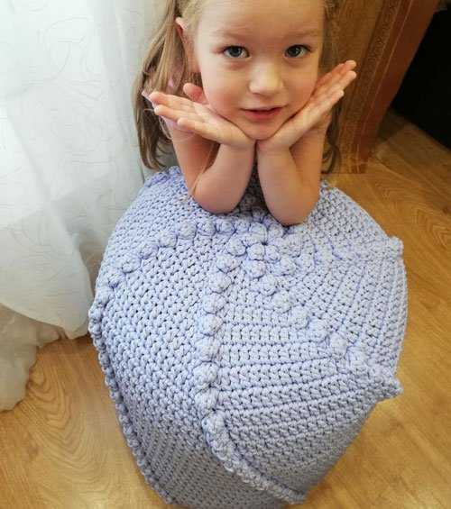 Knitted Crochet Pouf