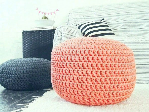 Large Coral Peach Crochet Ottoman