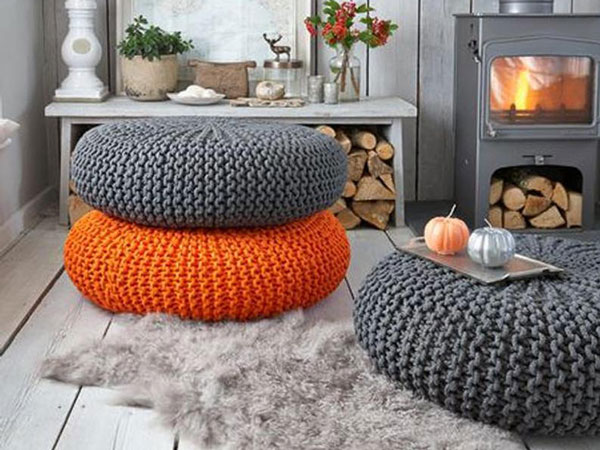 Large Rope Knit Ottomans
