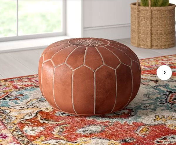 Mistana Carolos Leather Pouf