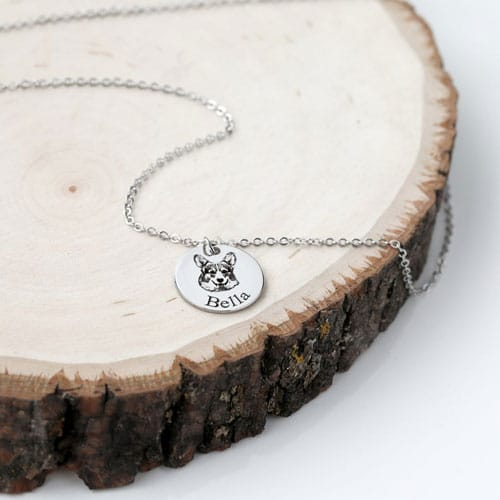 Personalized Custom Pet Portrait Dog Necklace