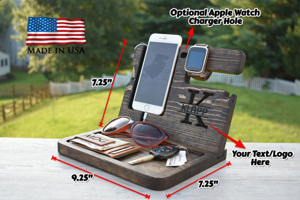 Personalized Wooden Docking Station - Gifts for Tattoo Artists