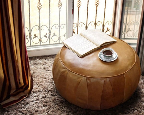 Round Vintage Look Leather Pouf