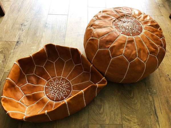 Set of 2 Moroccan Leather Poufs