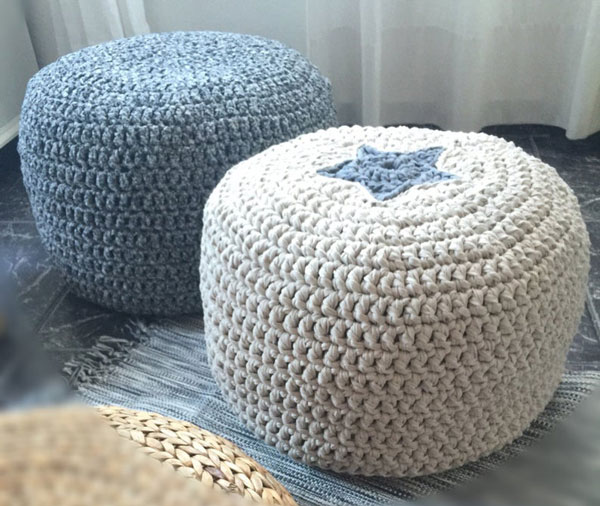 Stuffed Crochet Poufs