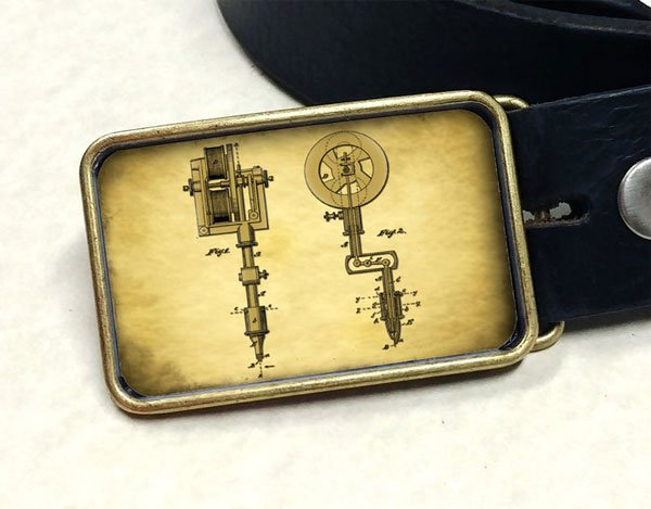 Vintage Tattoo Machine Patent Drawing Belt Buckle