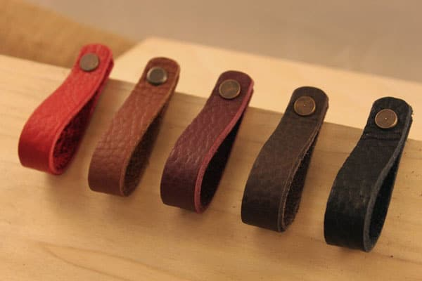 All Leather Thin Loop Drawer Pulls