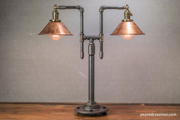 Double Industrial Edison Table Lamp