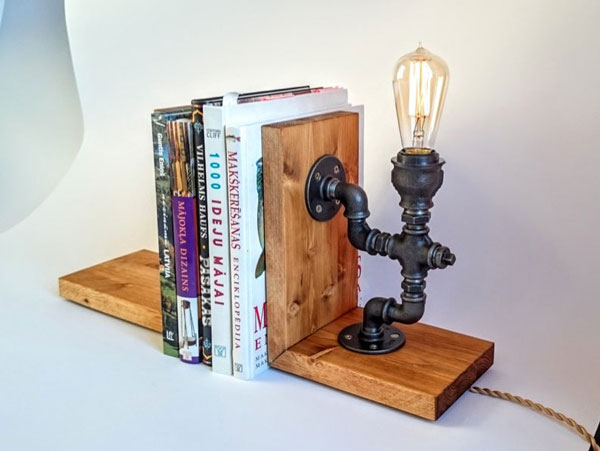 Industrial Bookends Lamp
