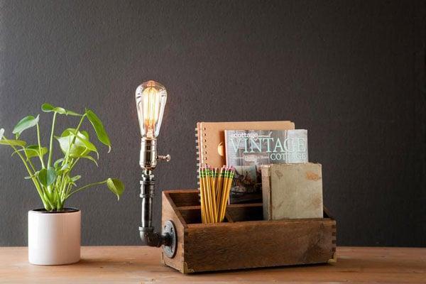 Rustic Desk Organizer Docking Station Desk Lamp