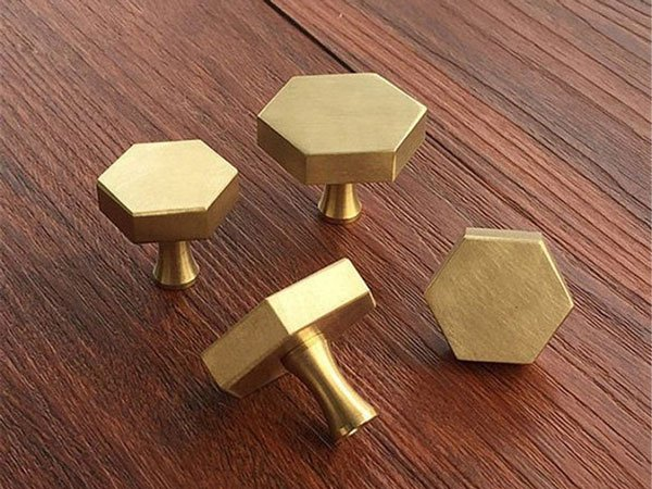 Solid Brass Hexagon Knobs - Unique Drawer Pulls