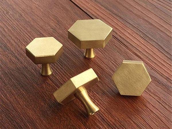 Solid Brass Hexagon Knobs - Unique Drawer Pulls