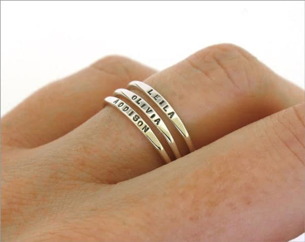 Stackable Dainty Name Rings