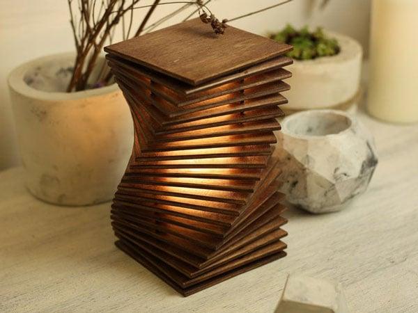 Wooden Geometric Desk Lamp