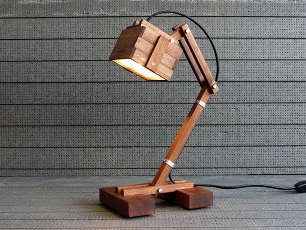 Wooden Geometric Office Desk Lamp