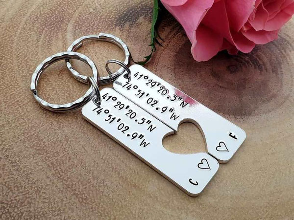Couples Coordinates Keychains