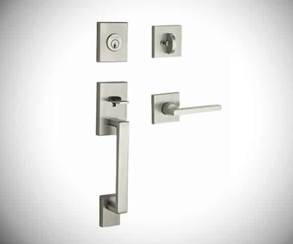 La Jolla Handleset with Square Door Lever Contemporary Square Rose - Modern Front Door Handles
