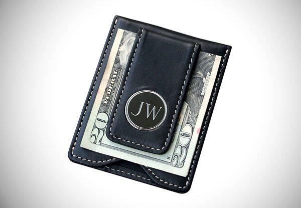 Personalized Leather Money Clip and Wallet