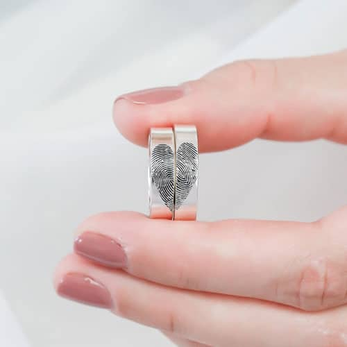 Set of 2 Finger Print Couple Rings