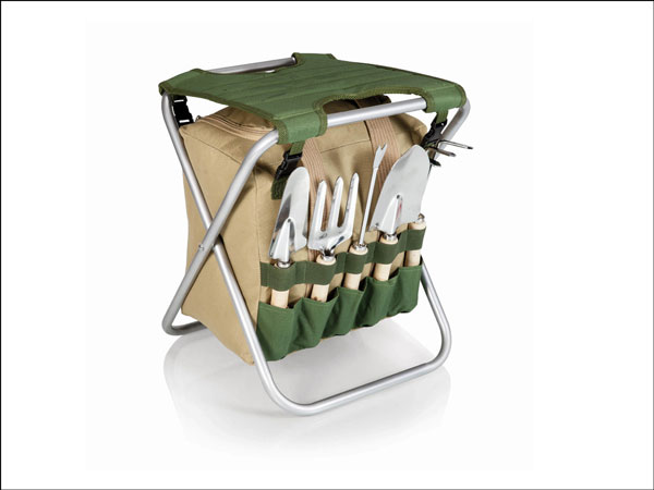 Folding Gardener Seat with Tools