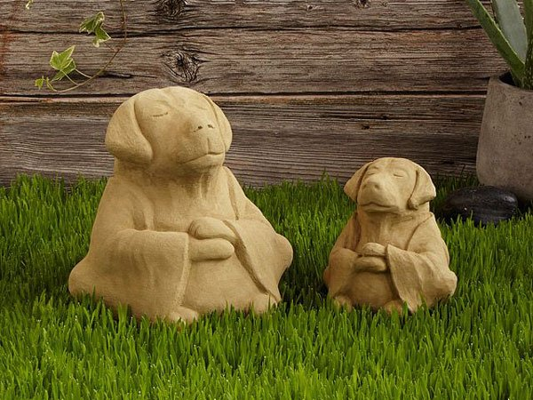Zen Dog Garden Sculptures - Unusual Gifts For Gardeners