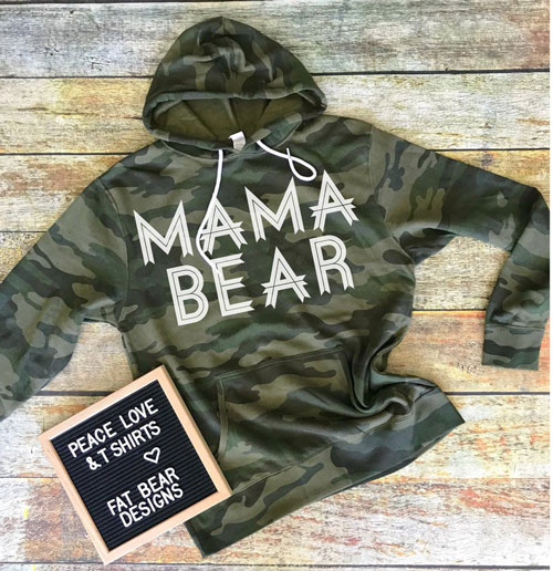 Camo Mama Bear Hooded Sweatshirt